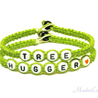 Tree Hugger Bracelet, Lime Green Macrame Hemp Jewelry, Eco-Friendly, Made to Order