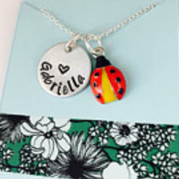ladybug Necklace, Ladybug Name Necklace, Ladybug Jewelry,  Name Necklace with Ladybug Charm, Animal Jewelry,