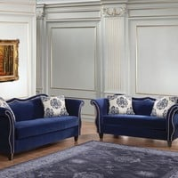 2 pc Zaffiro collection royal blue fabric upholstered Sofa and Love seat set with nail head trim