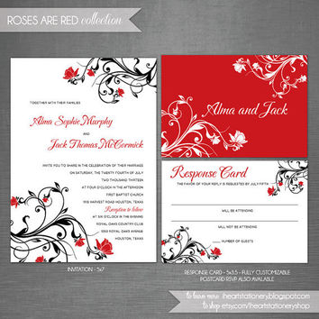 Wedding Invitation and RSVP - Roses and Floral swirls - Roses are Red Collection