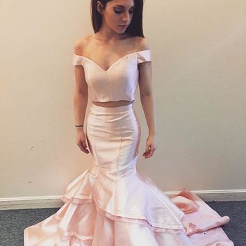 Two Piece Mermaid Prom Dress, Two Piece Pink Evening Dress