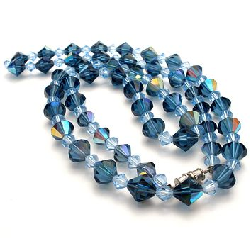 Light & Dark Blue Crystal Bead Necklace 32""
