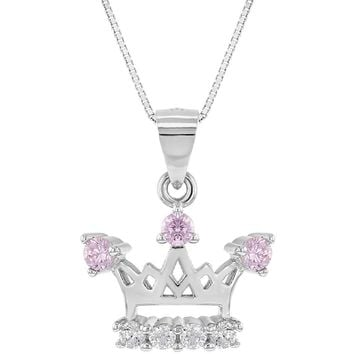 """925 Sterling Silver Princess Crown Necklace Pendant Girls Pink Clear CZ 16"""""""