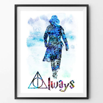 Severus Snape Watercolor Print, Harry Potter Always Watercolor Poster, Wall Art, Home Decor, Wall Hanging