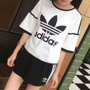 """ADIDAS"" Casual Print Short Sleeve Shirt Top Tee Blouse Two Peice G-A-XYCL"