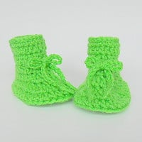 Bright Lime  Green Baby Boy  Booties 6 To 9  Month Old  Infant Girl  Slippers  Crib Shoes