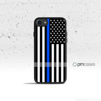 Thin Blue Line Black & White Flag Case Cover for Apple iPhone 7 6s 6 SE 5s 5 5c 4s 4 Plus & iPod Touch