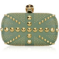 Alexander McQueen | Brittania Punk leather box clutch | NET-A-PORTER.COM