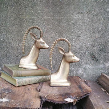 Vintage Brass Elk Pair Bookends