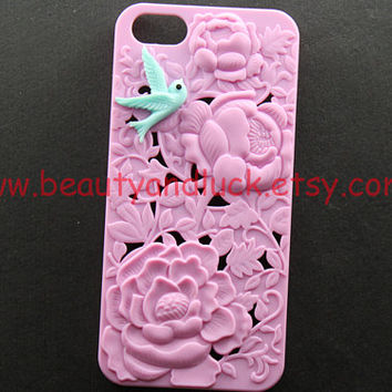 iphone 5 case cover, Vintage blue bird in Victoria peony , floral iphone case, pink flower hard case for iphone 5 case,  iphone 5 Hard Case