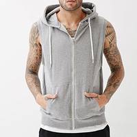 Zippered Sleeveless Hoodie