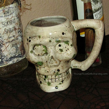 Ready to ship zombie skull mug kiln fired pottery mug coffee tea beer horror fan gift item