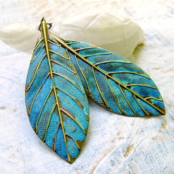 Leaf earrings Montana Skies Patina earrings Patina jewelry