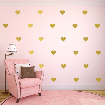 "Gold Heart Decal,  Gold Heart Decals,  Heart Wall Decals, Gold Wall Decal, Gold Wall Decor, Gold Wall Art, Available 2"" thru 12"" Hearts"