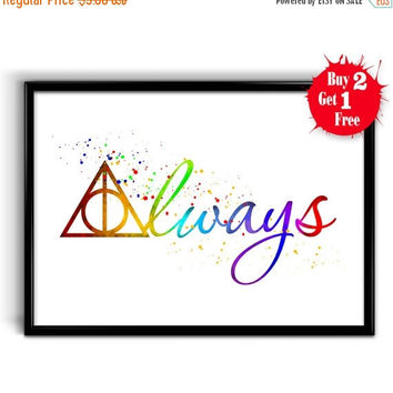 ON SALE 20% OFF Always Watercolor Print, Harry Potter Deathly Hallows Simbol , Art Giclee Wall Decor