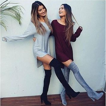 Casual Fashion Solid Color Loose Irregular  Long Sleeve  Dress