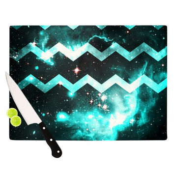"Alveron ""Aqua Galaxy Chevron"" Cutting Board"