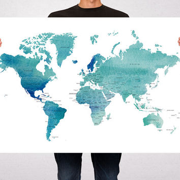 Best world map with countries names products on wanelo world map art print poster countries names watercolor travel m gumiabroncs Image collections