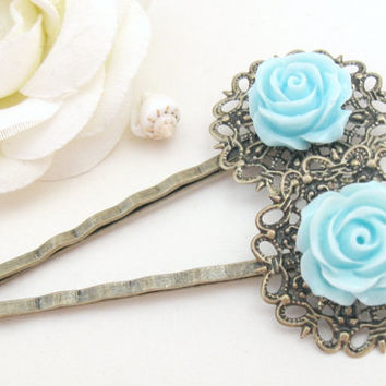 Bronze bobby pins, aqua blue rose and vintage filigree