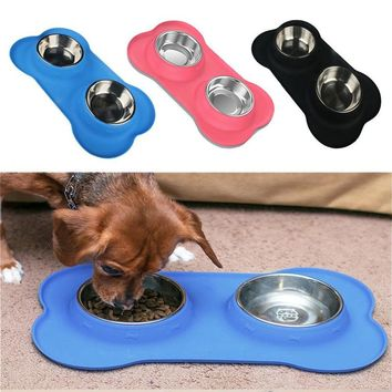 New Steel Dog Bowl With No Spill Non-Skid Silicone Mat 24 oz Feeder Bowl Tool