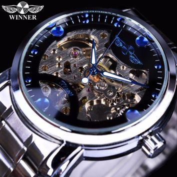 Winner Blue Ocean Fashion Casual Designer Stainless Steel Men Skeleton Watch Mens Watches Top Brand Luxury Automatic Watch Clock