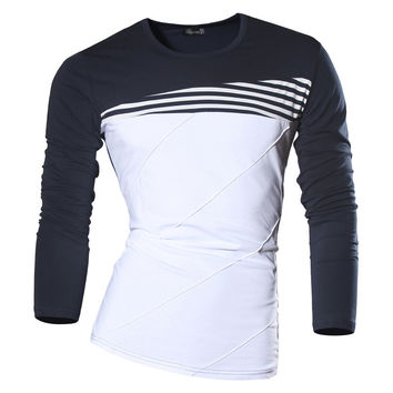 Men Spring Autumn Dress Long Sleeve Casual Stripe Under Shirt Slim Fit T-shirt Trend Fashion clothing