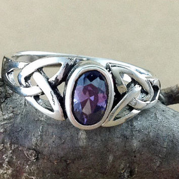 Amethyst Ring~Sterling Silver Celtic Amethyst Ring~Amethyst Silver Celtic Ring~February Birthstone~Birthstone Jewelry