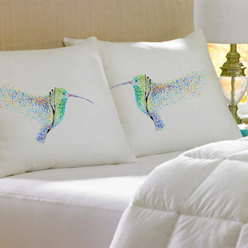 2 Colorful, Decorative, Hummingbird, cotton, Pillowcase, pillow, case, cover, art, of, koby feldmos, 18X18 inch, 20X30 inch, color bedroom