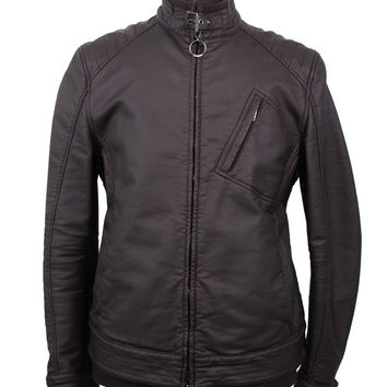 Black Waxed-Cotton Biker Jacket
