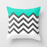 Color Blocked Chevron 9 Throw Pillow by Josrick