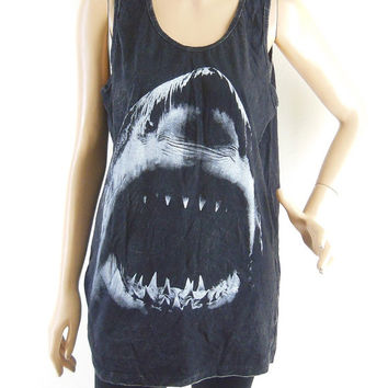 Shark Tshirt  (Unisex T-Shirt) Shark Shirt Shark Tank Top Jaws shirt Bleach Black Tshirt Men T Shirt Women Tshirt Tunic Screen Print Size M