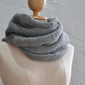100% organic hand spun hand woven cotton shawl / scarf in plain grey color