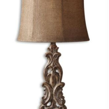 Buffet Table Lamp - Light Brown Body With Heavy Distressing And Antiqued Effect And Wood Grain Foot