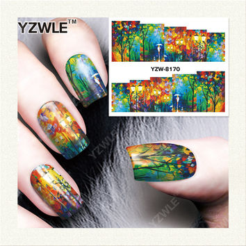 YZWLE 1 Sheet DIY Decals Nails Art Water Transfer Printing Stickers Accessories For Manicure Salon YZW-8170