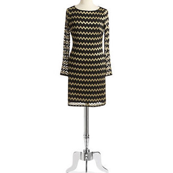 Nine West Chevron Metallic Shift Dress