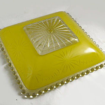 Vintage 40s 50s Etched Yellow Glass Ceiling Shade - Glass Shade for Flush Mount Ceiling Light