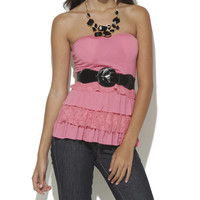 Belted Tiered Tube Top  | Shop Feminine Tops at Wet Seal