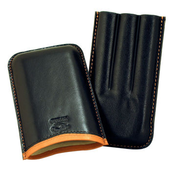 Cigar Case Leather Roma Black Saddle 3 Cigars