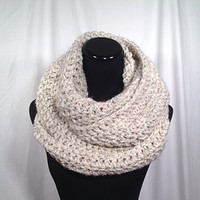 Oatmeal Tweed Infinity Crochet Scarf