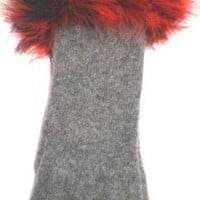 One Size Angora Wool Gloves Reinforced By Nylon Fiber Trimmed with Red Black Marabou for Women and Teens