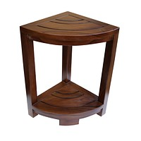ALA TEAK Corner Teak Wood Bath Spa Shower Stool Corner Table Bench Stool Fully Assembled