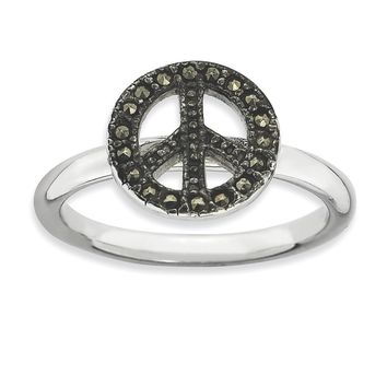 Sterling Silver Stackable Expressions Marcasite Peace Sign Ring