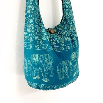 Women bag Handbags Cotton Elephant bag Hippie bag Hobo bag Boho bag Shoulder bag Sling bag Messenger Tote bag Crossbody Purse Turquoise Blue