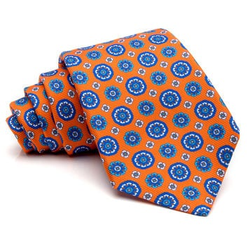 Kiton Orange with Blue Medallion Tie