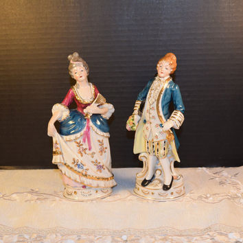 Occupied Japan ST Colonial Couple Figurines Vintage Ceramic Porcelain WWII Occupied Japan Man and Woman Victorian Colonial Figurine Pair