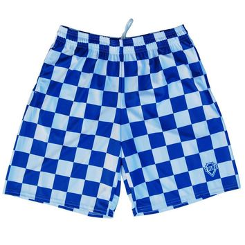 Royal and White Checkerboard Lacrosse Shorts