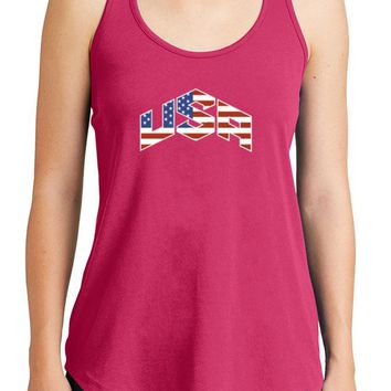 Women's USA Flag Graphic New Era Heritage Blend Racerback Tank Tops for Regular and Plus - XS ~ 4XL