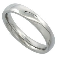 Surgical Steel Plain Wedding Band / Thumb Ring 4mm Domed Comfort-Fit High Polish, size 6.5