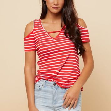 Red Striped Super Soft Cold Shoulder Bar Front V Neck Top