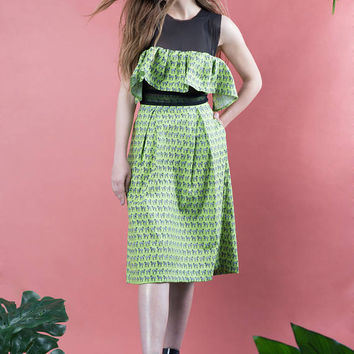Zebra pattern skirt, pleated skirt, midi skirt, summer skirt, green skirt, vintage style skirt, co-ord set